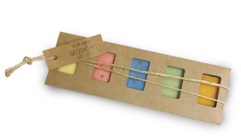 5er-Seifenstangen-Geschenk (5 x 25g Minis sortiert mit Schnur und Kärtchen)