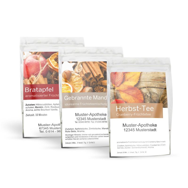 """Probensortiment """"Herbst-Tee"""" mit 3 Sorten (Herbsttee, Gebrannte Mandel, Bratapfel)"""