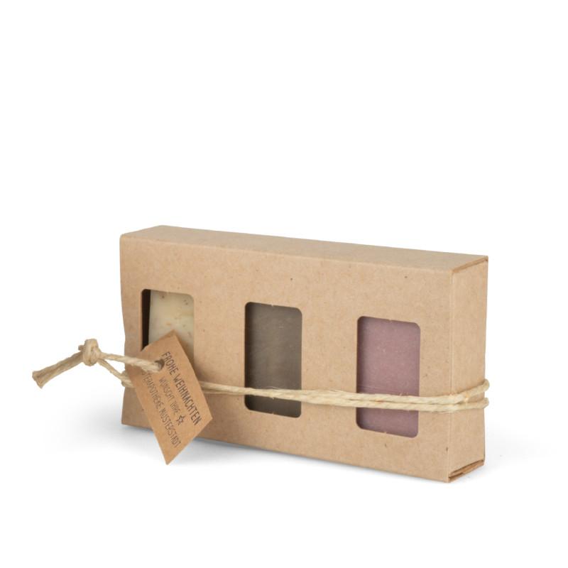 Geschenkkarton mit 3 Seifen (3 x 25g = 75g: Kamillenblüten, Kaffee, Zimt-Orange)
