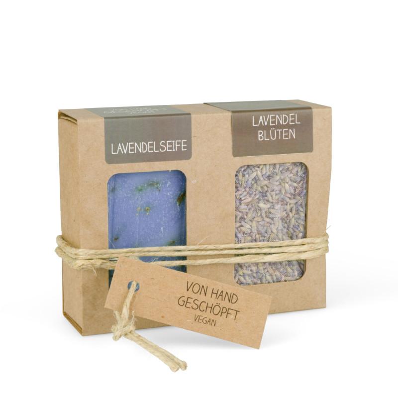 Geschenkkarton mit Seife + Lavendelblüten (100g Lavendelseife + Lavendelblüten 25g)