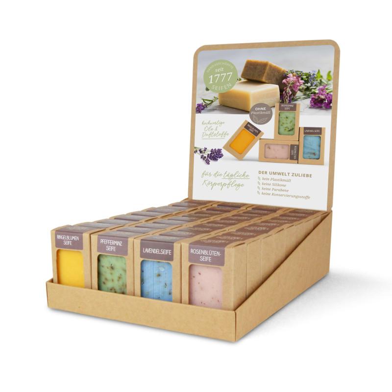 Sortiment mit 36 Seifen (4 x 9 St.: Ringelblume,Pfefferminz, Lavendel, Rosenblüte)