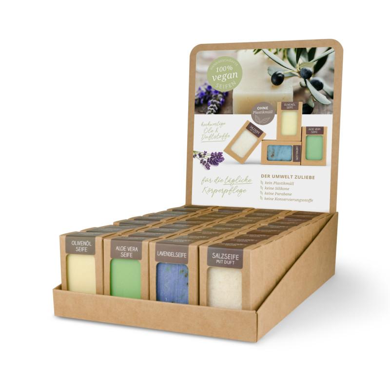 Sortiment mit 36 Seifen (4 x 9 St.: Olivenöl, Aloe Vera, Lavendel, Salz mit Duft)
