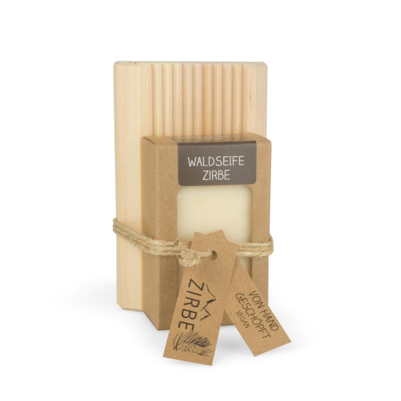 Seifenablage aus Zirben-Vollholz + Waldseife Zirbe 100g handgeschöpft