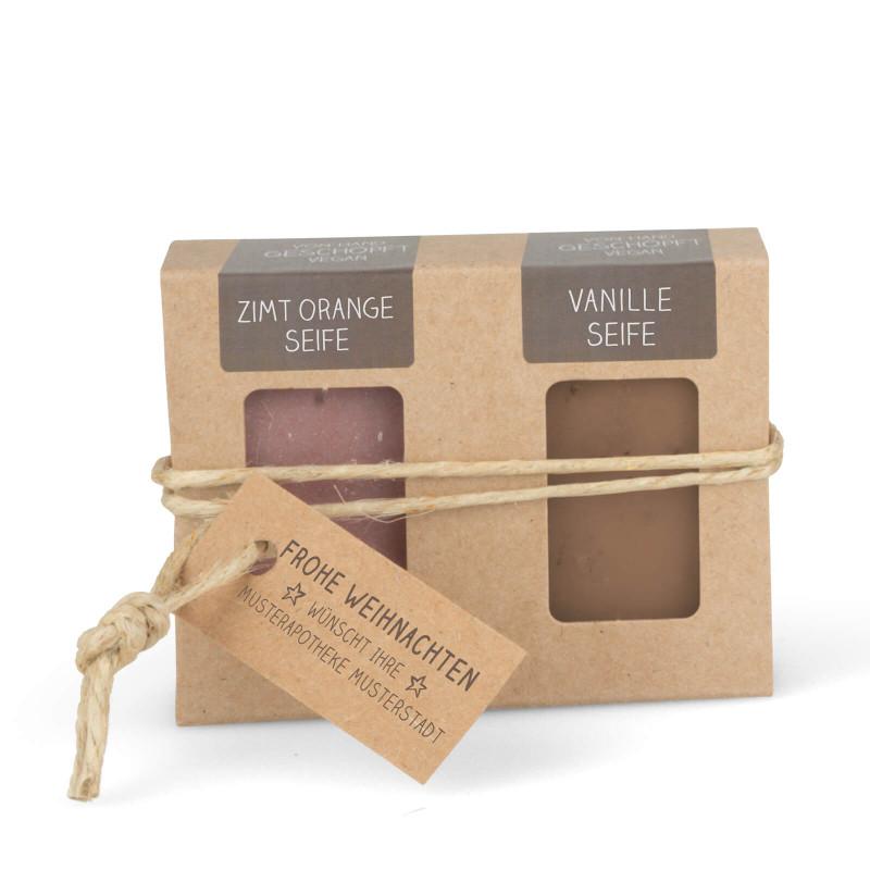Geschenkkarton mit 2 Mini-Seifen (2 x 25g = 50g: Zimt-Orange, Vanille)
