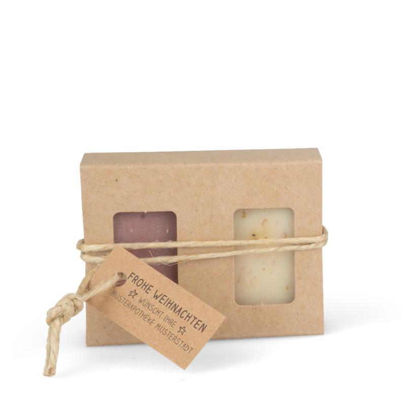 Geschenkkarton mit 2 Seifen (2 x 25g = 50g: Zimt-Orange, Kamillenblüten)