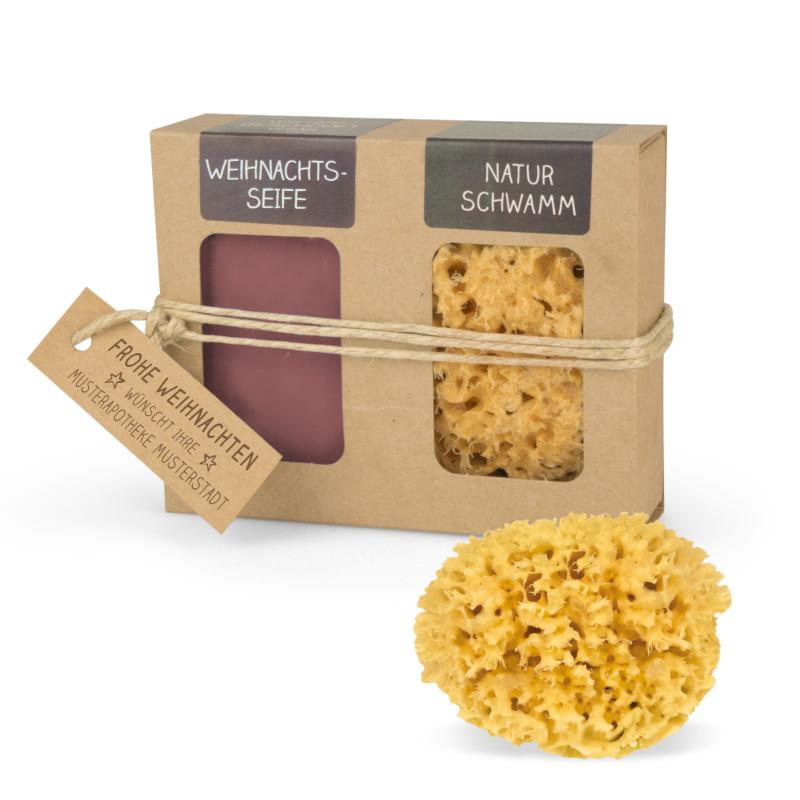 Geschenkkarton mit Seife + Naturschwamm (100 g Weihnachtsseife | Naturschwamm 8 cm Ø)