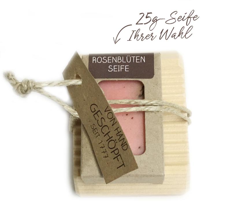 Mini-Seifenablage aus Zirben-Vollholz + 25g Seife handgeschöpft
