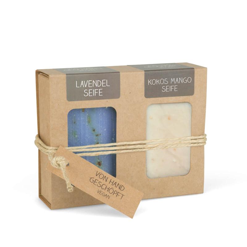 Geschenkkarton mit 2 Seifen (2 x 100g: Lavendel & Kokos Mango Seife)