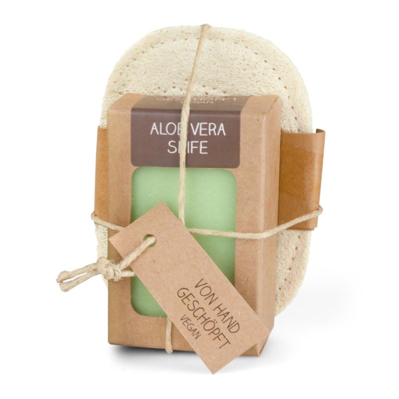 Seifenablage aus geflochtenem Luffa (mit 100 g Seife)