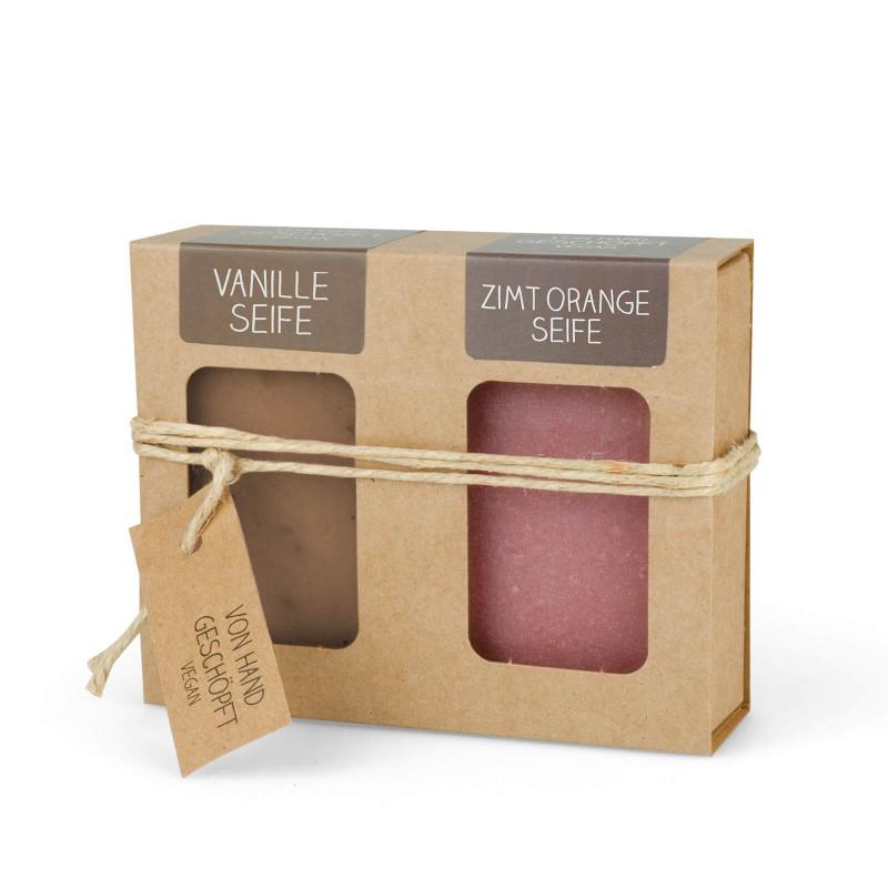 Geschenkkarton mit 2 Seifen (2 x 100g: Vanille & Zimt Orange)