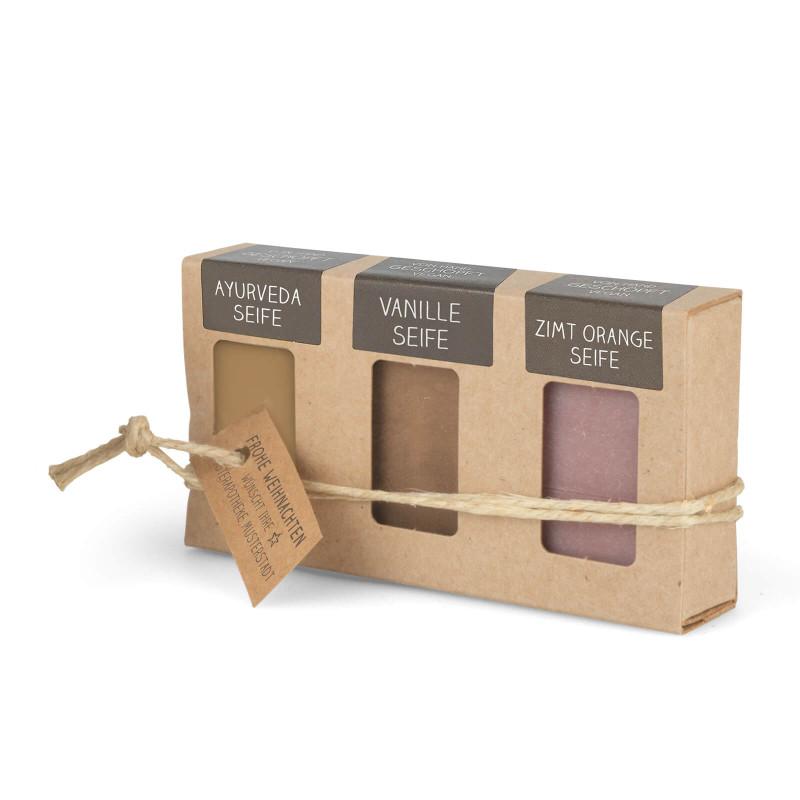 Geschenkkarton mit 3 Mini-Seifen (3 x 25g = 75g: Ayurveda, Vanille, Zimt-Orange)