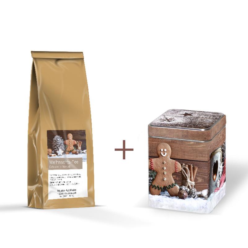 Geschenkpackung mit 40g Früchtetee & Kandis in Minitin