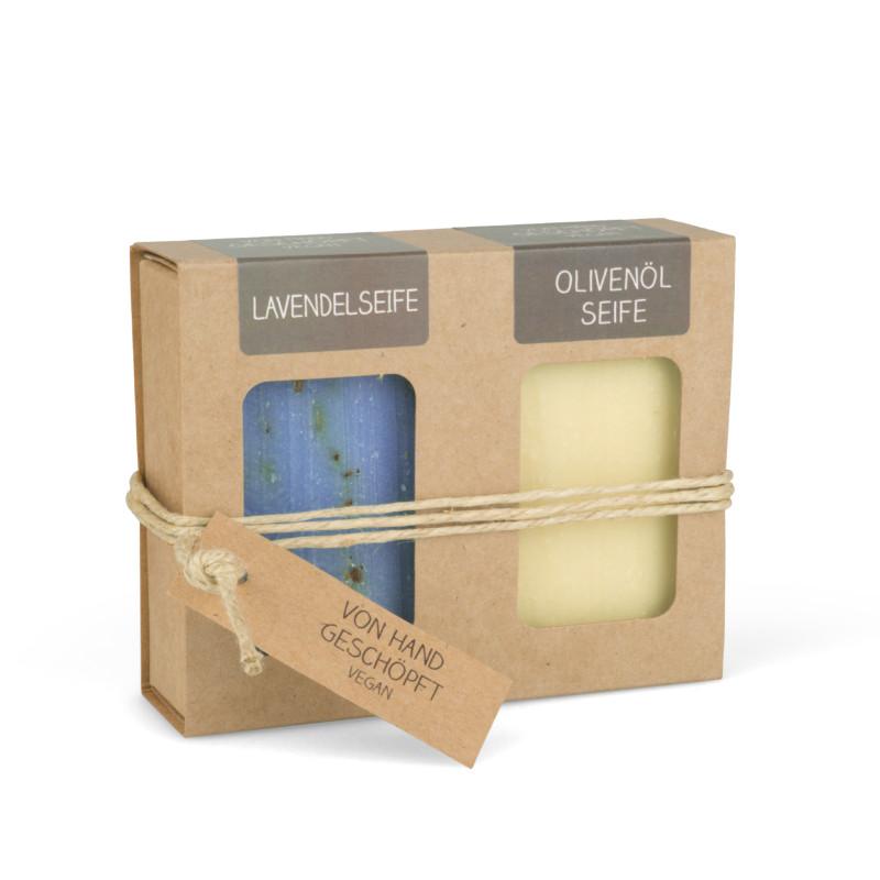 Geschenkkarton mit 2 Seifen (2 x 100g: Lavendel- & Olivenölseife)