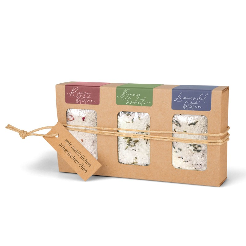 Geschenkkarton mit Badesalz (3 x 100g: Rosenblüten, Bergkräuter, Lavendelblüten)