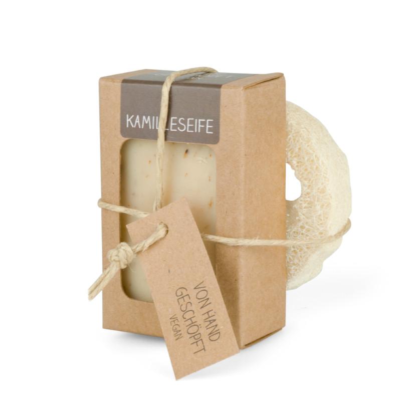 Luffascheibe Seifenablage (mit 100 g Seife)
