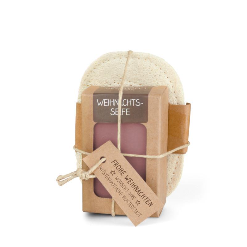 Geschenkset mit 100g Weihnachtsseife + Seifenablage aus geflochtenem Luffa