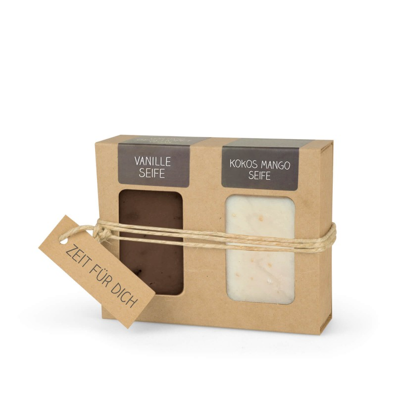 Geschenkkarton mit 2 Seifen (2 x 100g: Vanille & Kokos Mango Seife)