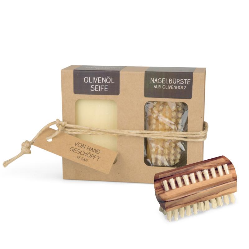 Geschenkkarton mit Seife + Nagelbürste (100 g Olivenölseife | Nagelbürste aus Olivenholz)