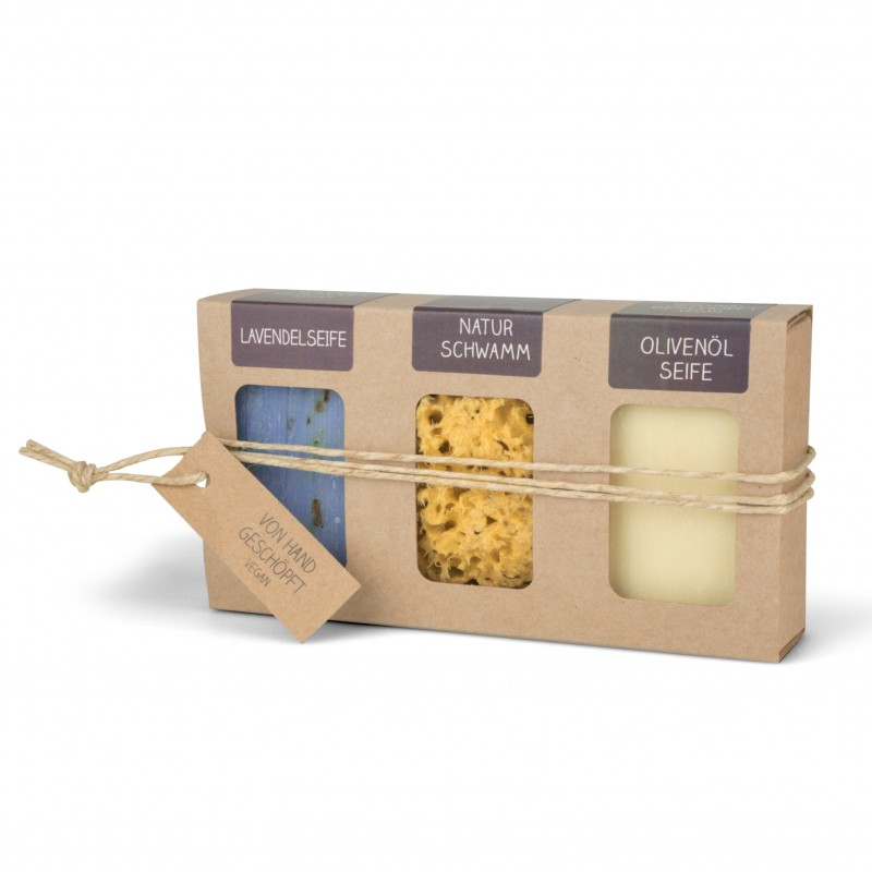 Geschenkkarton mit 2 Seifen (2 x 100g Stück: Lavendel- & Olivenölseife) + Naturschwamm 8 cm Ø