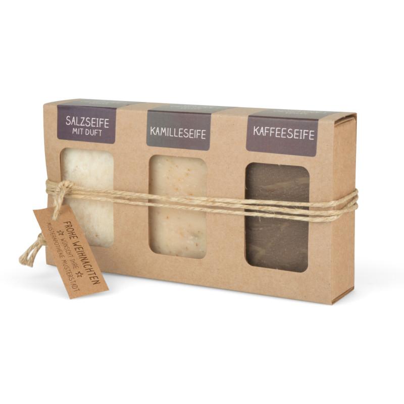 Geschenkkarton mit 3 Seifen handgeschöpft (3 x 100g: Salzseife mit Duft, Kamille- und Kaffeeseife)